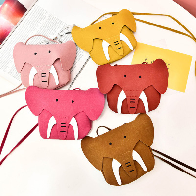 Korean Style Kids Baby Girl Mini Babgs 2018 Spring New Brand Cute Cartoon Elephant Cross- body Shoulder Bags