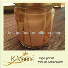 Canned tuna steak in jar