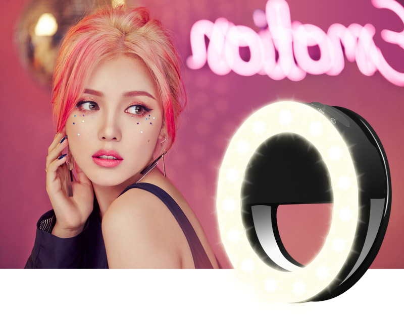 USB Rechargeable Portable 36 LED Clip On Beauty Flash Fill in Light Night Enhancing Dimmable Selfie Ring Light