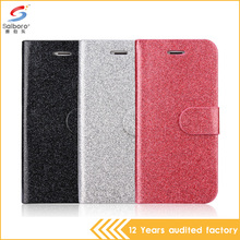 Amazon hotselling leather glitter credit card pocket flip cover for iPhone 5 6 6plus