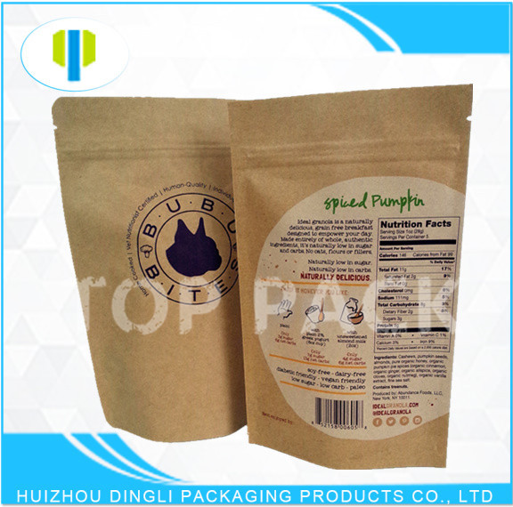 Laminated material stand up kraft paper cereal food packaging bag