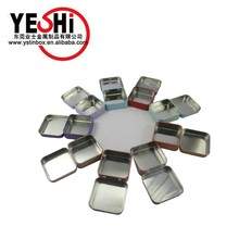 Custom Printed Tin Cosmetic Box Square hinge tin box with mirror on the lid