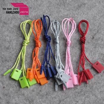 Custom logo clothing hang string lock plastic seal tag for garment
