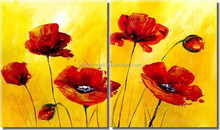 2 Panels Group Flower Oil Painting For Wall Decoration