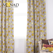 Monad modern abstract yellow tulip dimout readymade kitchen curtain fabric wholesale