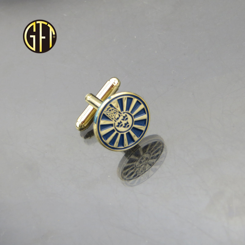 custom LOGO silver shinny wooden metal mens cufflinks Chinese manufacturer