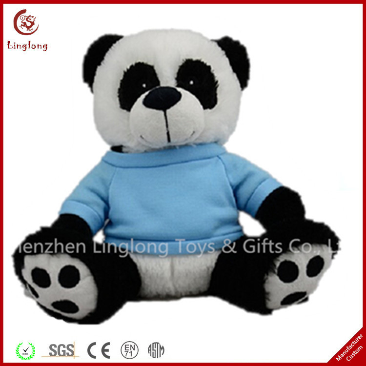 Custom cute black and white plush panda doll and 12 inches stuffed toy with clothes