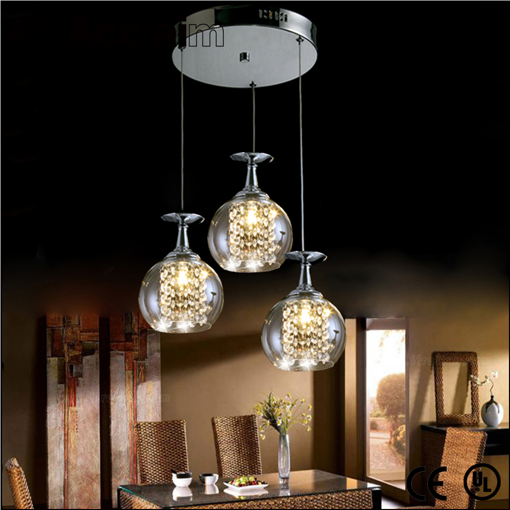 Modern design ctystal and glass led suspended ceiling light fittings