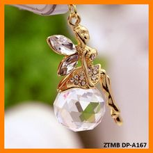 Crystal Ball Fairy Pendant 3.5mm Dust Plug For Iphone Samsung