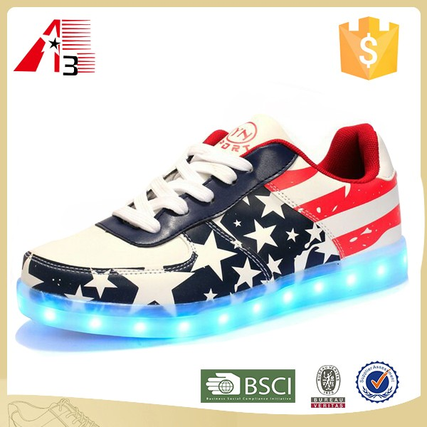 2016 latest new arrive design usa flag sneakers led shoes for women