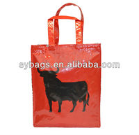 Promotional handle PVC laminated cotton shopping bag