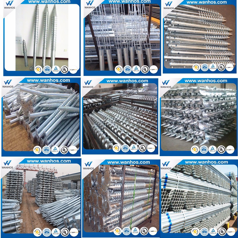 Galvanized Steel Ground Screw in Ground Solar Racking Structure, solar ground mount screws