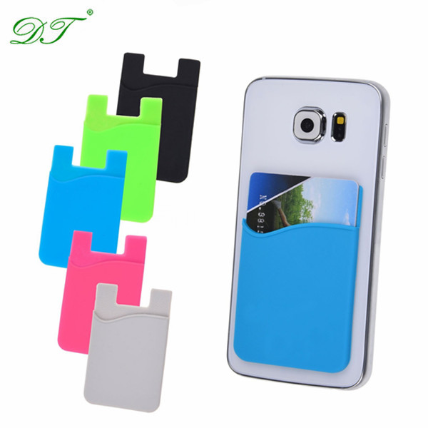 Silicone rubber cell phone credit business card holder for cell phone