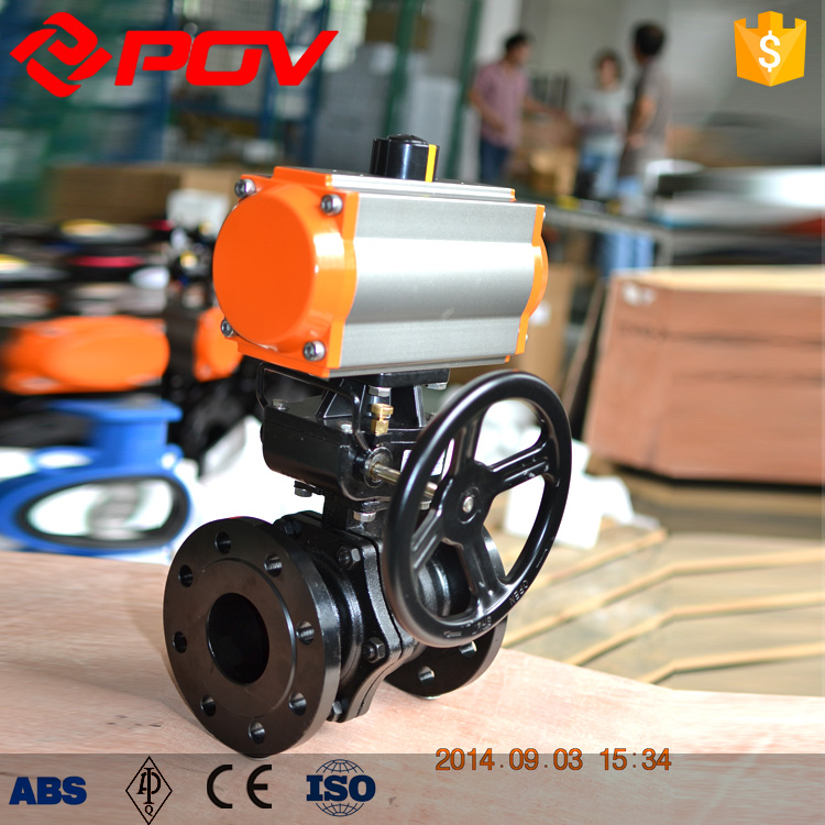 Shanghai POV made WCB flange connection pneumatic ball valve