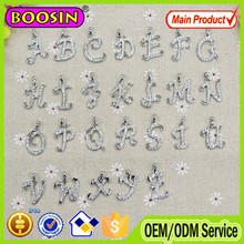 New design metal rhinestone alphabet pendant designs, different designs of alphabets pendant #14910