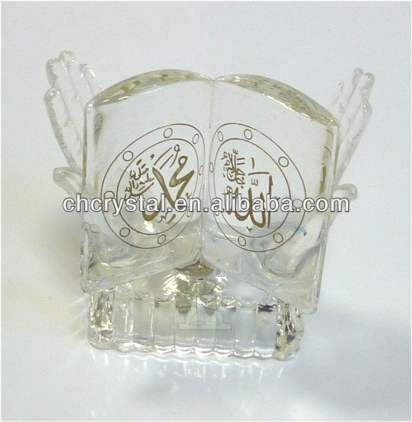 Crystal Allah Muhammad Pendant Muslim Islamic Quran Frame, Crystal Holy Quran with led light base MH-L0369