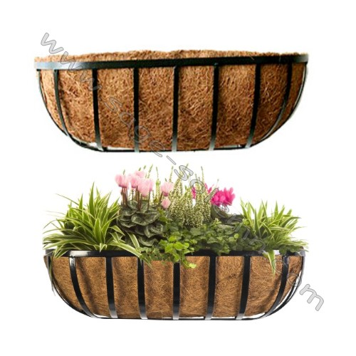 Wrought Iron Window Box Planter, Trough Planter with Coco Liner