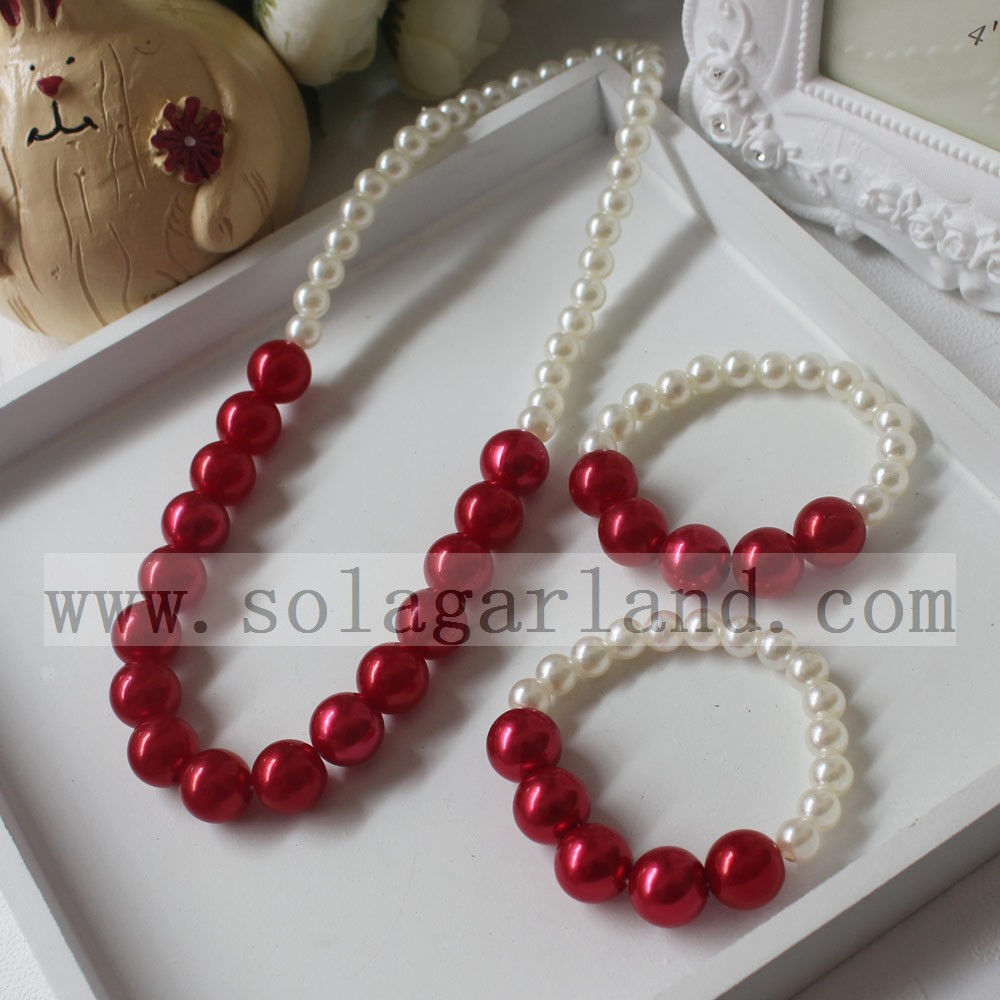 Wholesale Princess Imitation Pearls Necklace Baby Girls Children's Party Jewelry