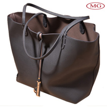 Large 2 in 1 shoulder tote bag PU leather satchel for ladies