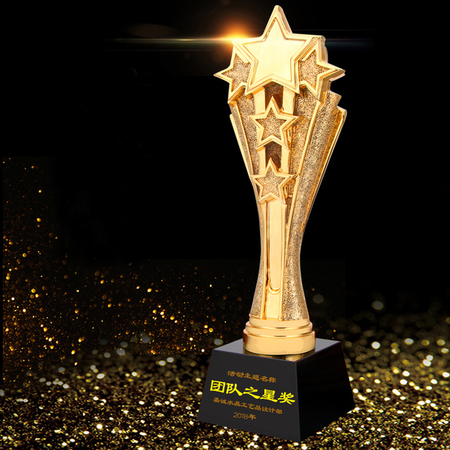 Metal stars resin award trophy crystal plaque in a wholesale