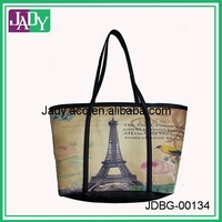 Fahion foldover art floral custom printed carry bag