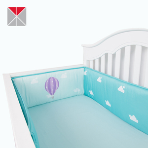Light blue balloon printed crib bumper polyester peach skin baby bed bumper