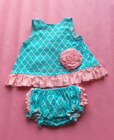 Posh nice teal with princess pink ruffle baby cotton swing top set for 0-36m baby girls