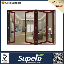 Fancy sliding glass door aluminum material with wood color finished glass door design