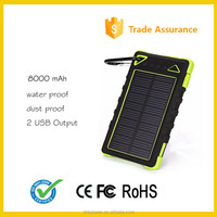 2016 waterproof Portable Solar Power Bank charger manufacturer 8000mAh For Cell Phone