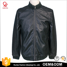Runtex Germany Machine Made fashion round Collar men pu custom bomber leather jacket with long sleeve