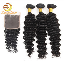 100 Percent Raw Virgin Brazilian Human Hair extension wholesale deep wave hair bundles with closure 4x4