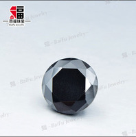 cheap 1 carat 6.5mm round shape untreated raw loose synthetic black moissanite diamond