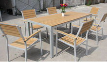 2015 New arrival rattan Alum frame polywood dinning table set