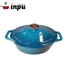 FDA certified 5QT blue cast iron oval casserole for home kitchen