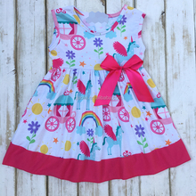 Wholesale beautiful bow dress boutique rainbow children dresses 2017 summer