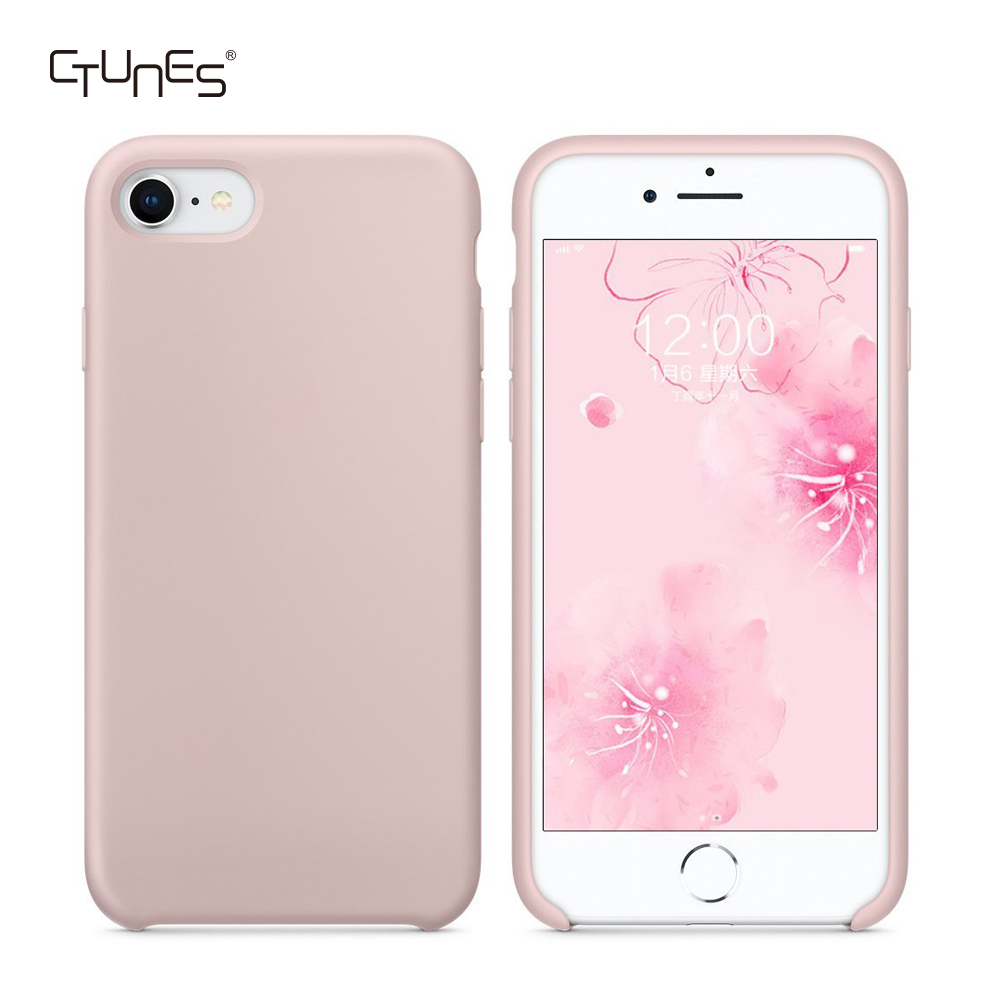 Liquid Silicone Gel Rubber Slim Fit Soft Shockproof Case with <strong>Microfiber</strong> Cloth Lining Cushion for Apple iPhone 7 / 8