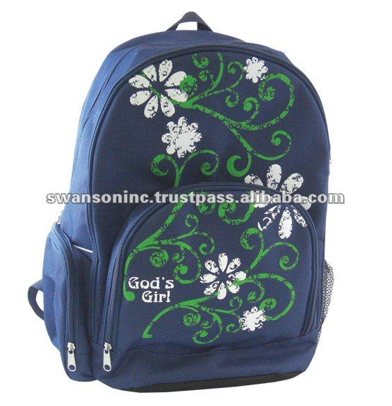 Blue Color Silk Screened Graphics Backpacks