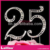 Double number rhinestone cake topper