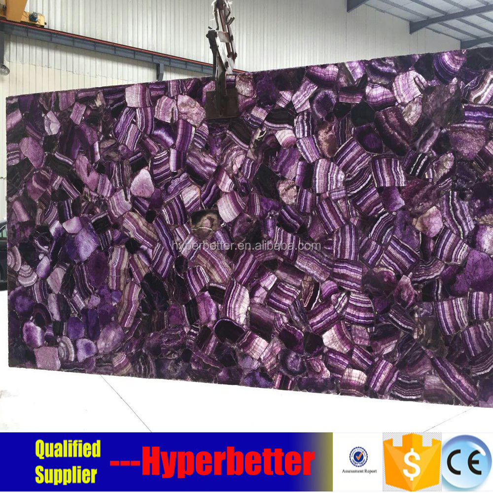 Perfect translucent agate Violet fluorite slabs 122x244cm