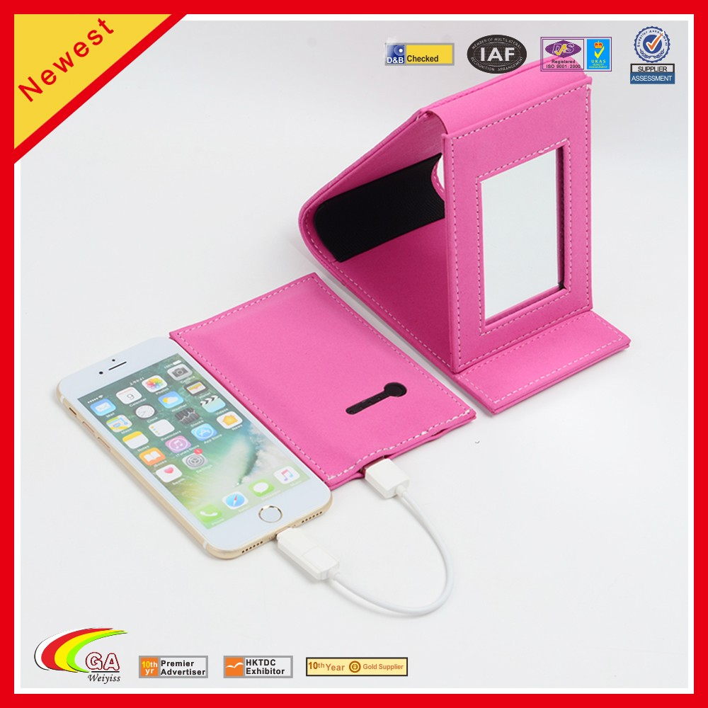 WEIYI New design travel power bank leather makeup mirror with detachable power bank
