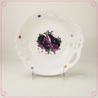 Hot sale large plastic pp fruit plate with diamond