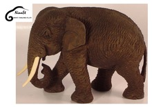 Wood Carved Elephant from Thailand with round trunk