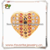 fashion gold heart shaped free bead catalogs brass zircon micro pave items