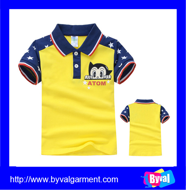 Hot sale children polo t shirt 100%cotton short sleeve kids cartoon character printed t-shirt