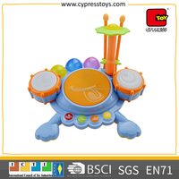 shantou chenghai toy factory kids educational frog electronic drum set toys with music