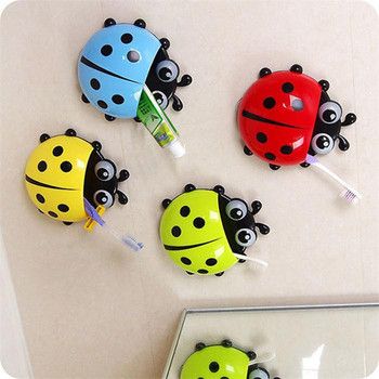 2017New Ladybug toothbrush Toiletry Toothpaste Holder Suction Hooks Tooth Brush ladybird container Sanitary Ware Accessories