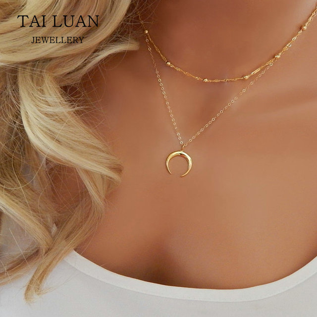 Minimalist gold plated horn necklace crescent moon layered necklace