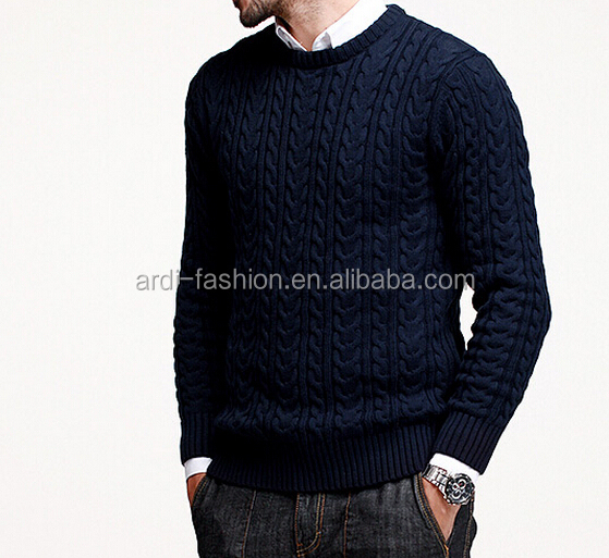2016 Navy crew neck cable knitting mens pullover sweater