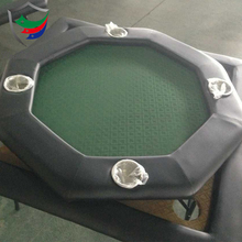 48inch high quality octagonal wood folding leg poker table with 8pcs stainless steel poker table cup holders