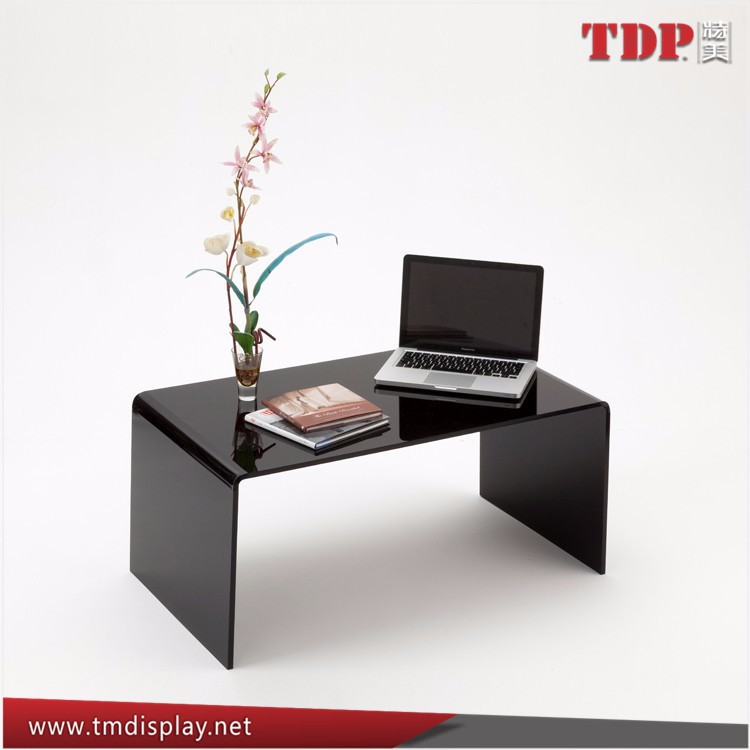 Custom Furniture Clear Black Acrylic Lucite Vanity Bedside Table for TV/Laptop